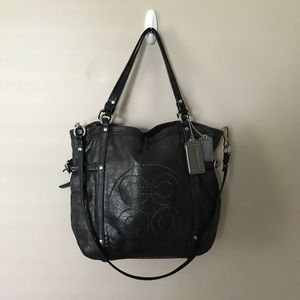 Coach Audrey Navy Distressed Leather Handbag